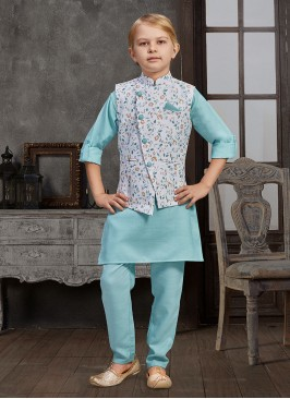 Cotton Printed Nehru Jacket Set For Boys