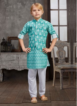 Cotton Printed Nehru Jacket Set For Wedding