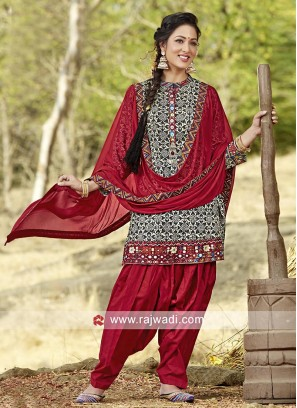 Cotton Printed Patiala Suit with Dupatta