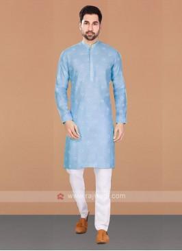 Cotton Printed Sky Blue Kurta