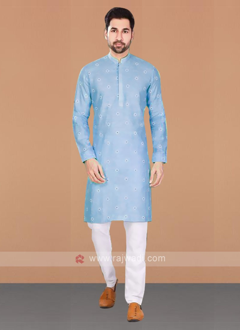 Cotton Printed Sky Blue Kurta