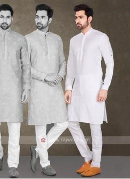 Cotton Printed White Kurta