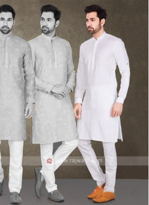 Cotton Printed White Kurta