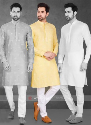 Cotton Printed Yellow Kurta