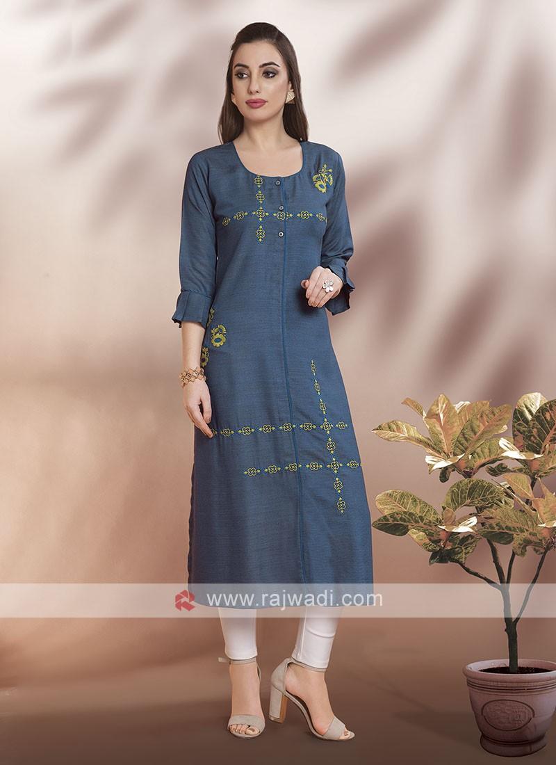 Cotton Rayon Fabric Kurti with Sleeves