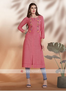 Cotton Rayon Kurti in Light Peach