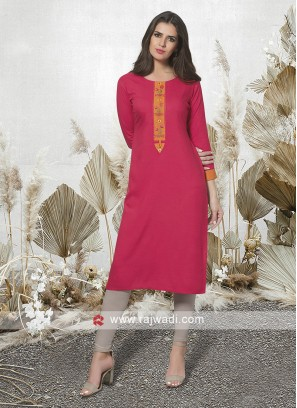 Cotton Rayon Kurti with Buttons