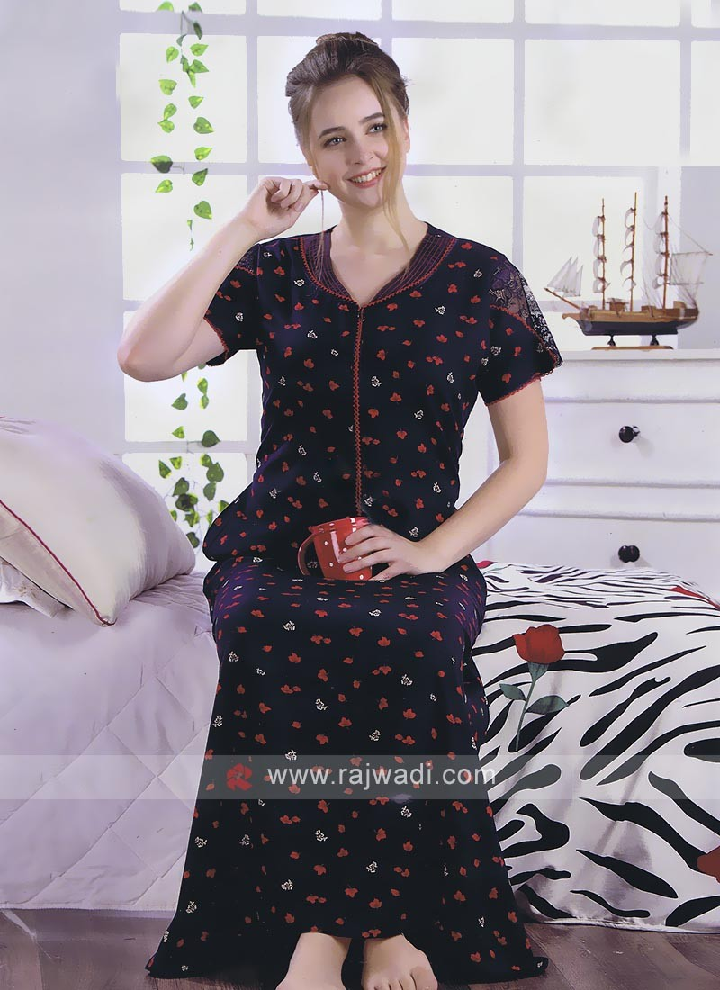 Cotton Rayon Nighty In Nay Blue