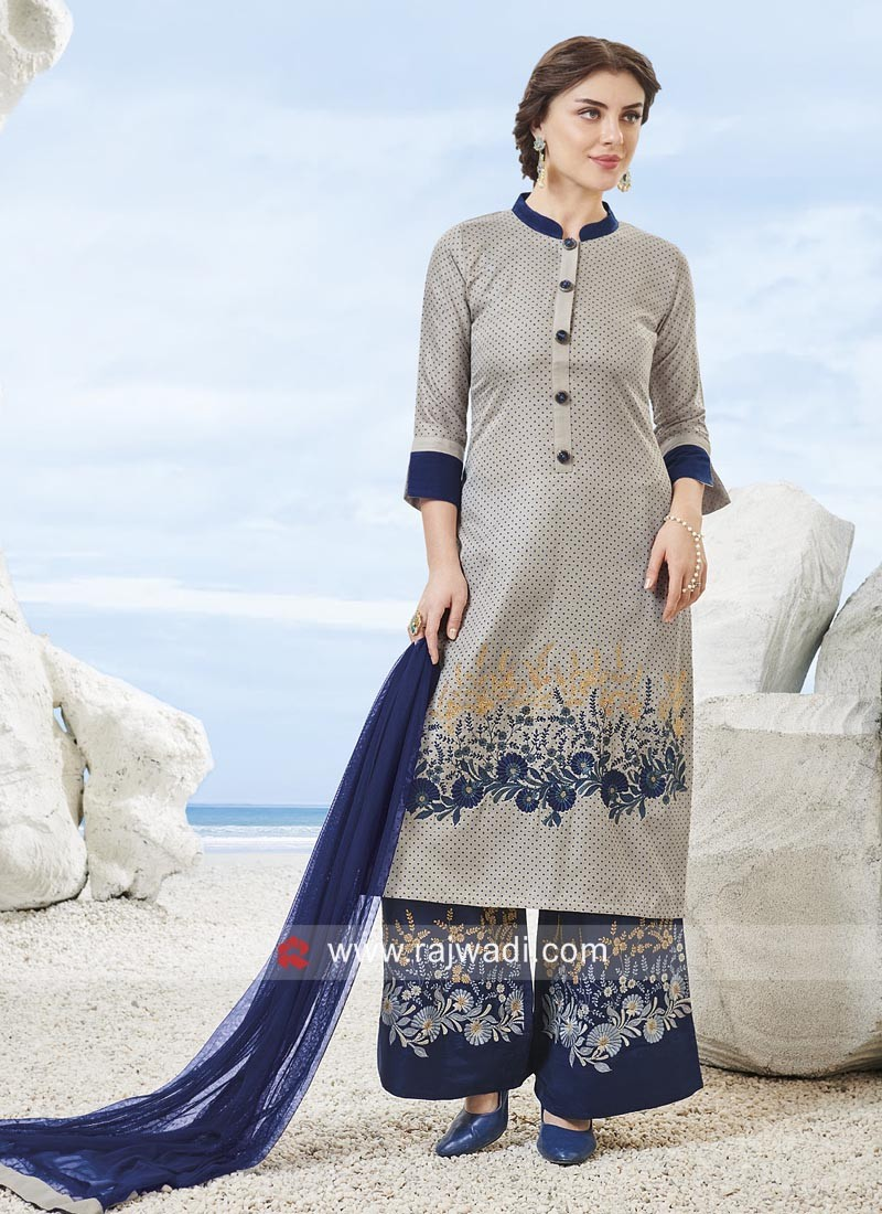 Cotton Rayon Palazzo Suit with Buttons