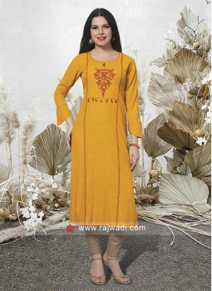 Cotton Rayon Thread Work Kurti