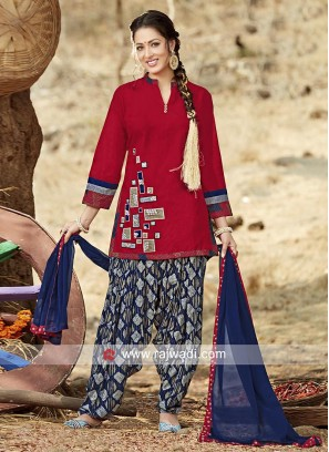 Cotton Red Short Kurta with Patiala and Dupatta