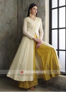 Cotton Resham Work Palazzo Suit