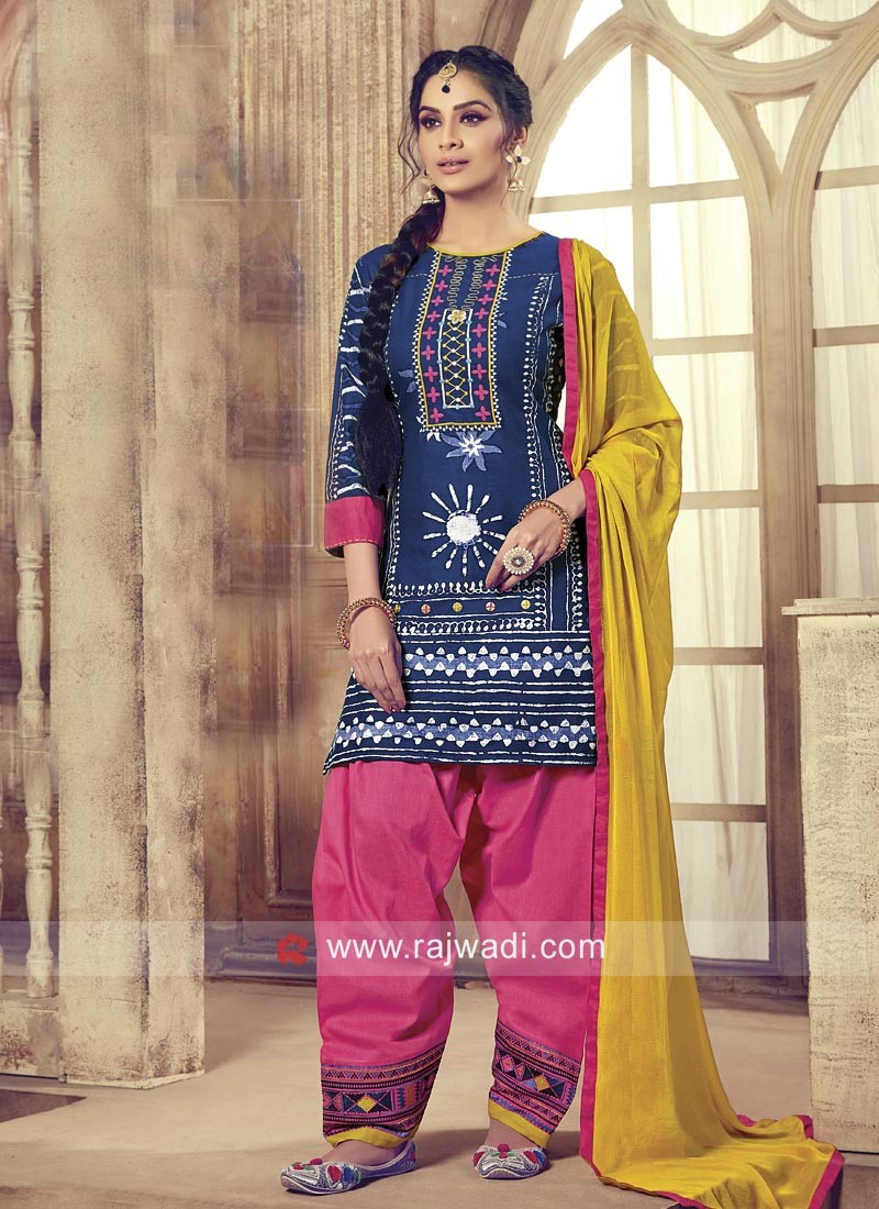 Cotton Resham Work Patiala Suit with Dupatta