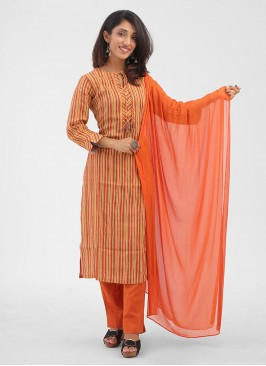 Cotton Rust And Yellow Color Pant Style Salwar Suit