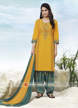 Cotton Salwar Suit in Yellow