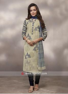Cotton Salwar Suit with Chiffon Dupatta