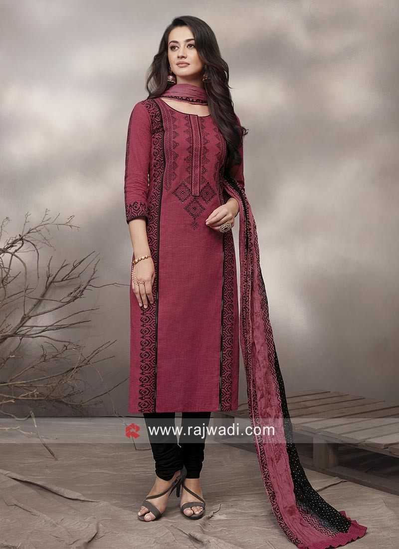 Cotton Salwar Suit with Dupatta
