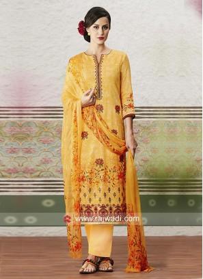 Cotton Satin Printed Salwar Suit