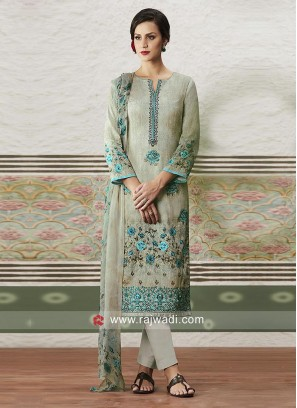 Cotton Satin Printed Salwar Suit