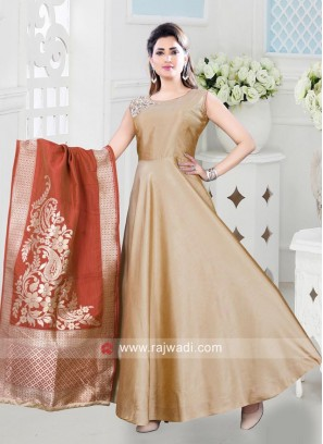 Cotton Silk Aanarkali with Silk Dupatta