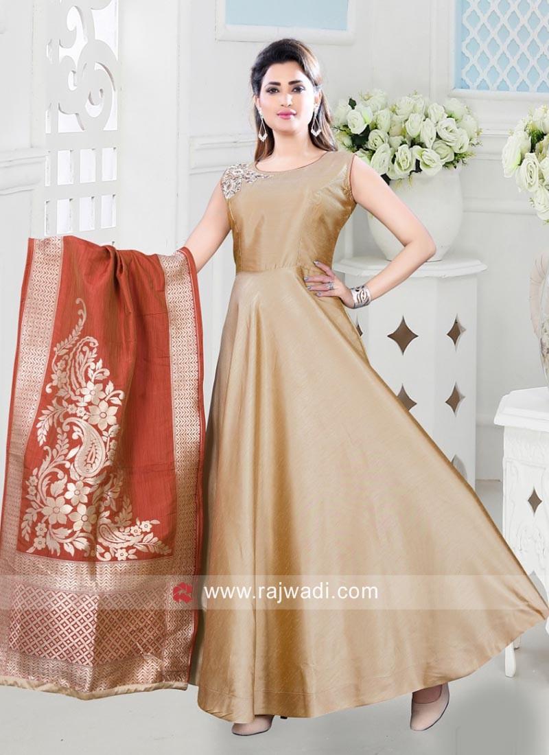 Cotton Silk Aanarkali with Silk Dupatta