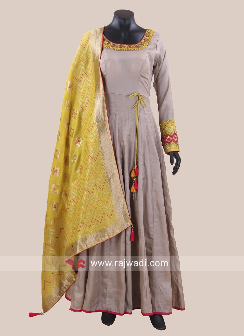 Cotton Silk Anarkali Dress in Grey