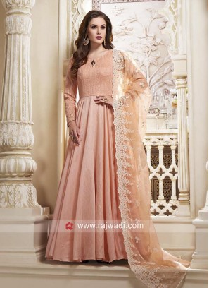 Cotton Silk Anarkali Dress in Light Peach