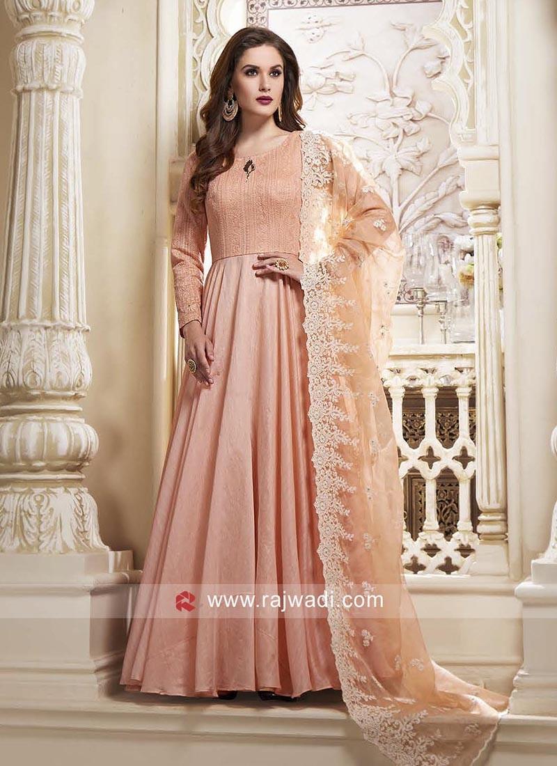 Cotton Silk Anarkali Dress in Light Peach