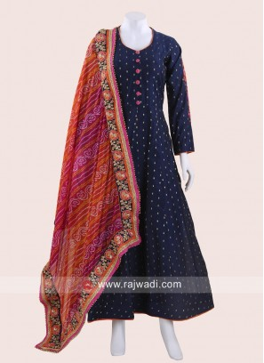 Cotton Silk Anarkali Dress with Dupatta