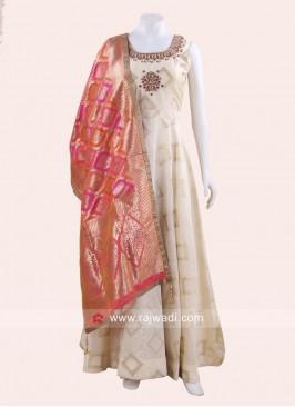Cotton Silk Anarkali with Embroidery Neckline