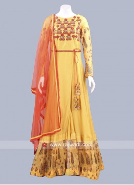 Readymade Golden Yellow Anarkali Dress