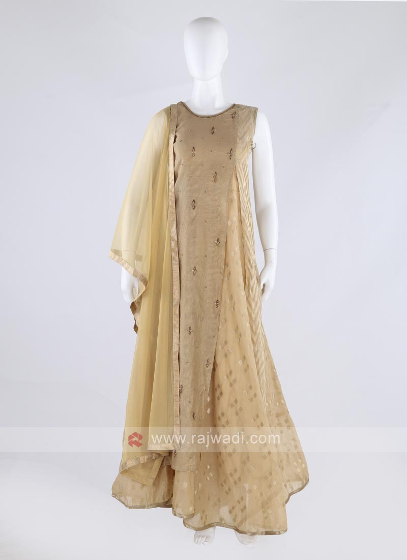 cotton silk anarkali suit in beige color