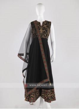 cotton silk anarkali suit in black