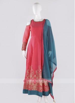 cotton silk anarkali suit in gajari pink