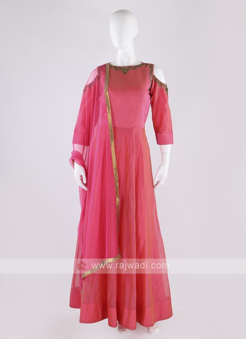 cotton silk anarkali suit in gajari pink