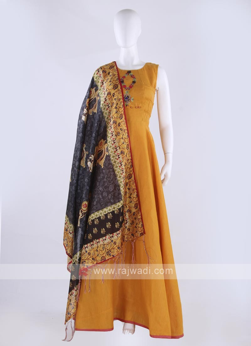 cotton silk anarkali suit in golden yellow color