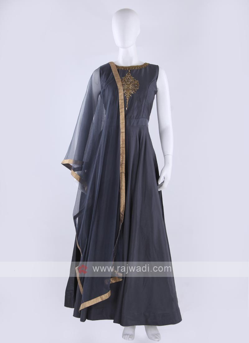 cotton silk anarkali suit in grey color
