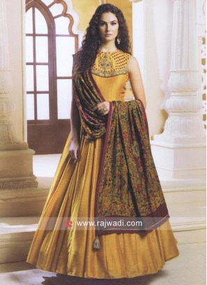 Cotton Silk Anarkali Suit in Mustard Yellow