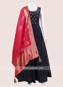 Cotton Silk Anarkali Suit in Navy Blue