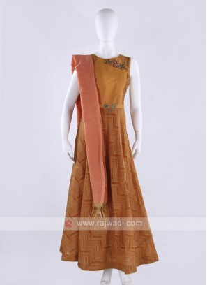 cotton silk anarkali suit in orange and light brown