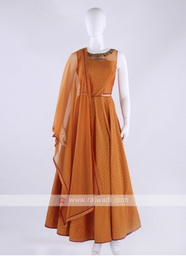 cotton silk anarkali suit in orange color