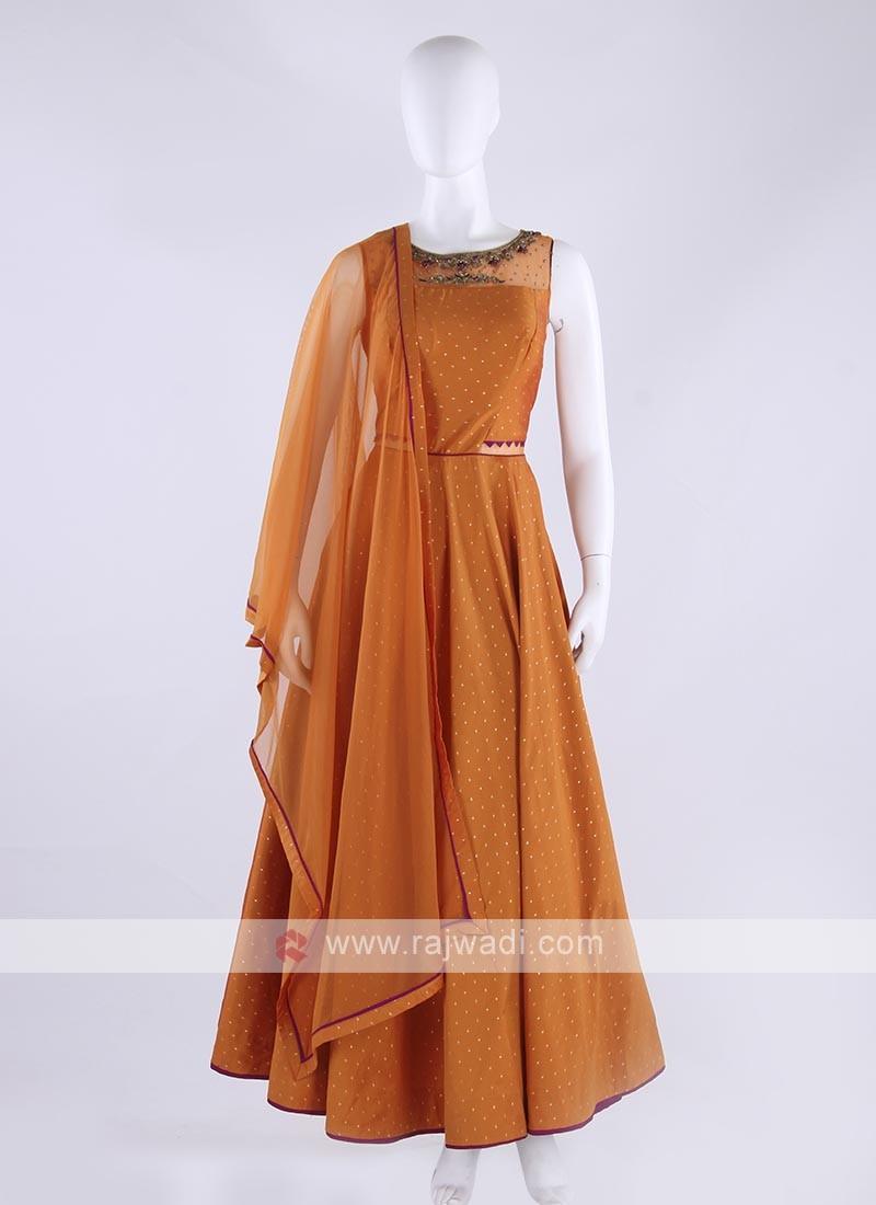 cotton silk anarkali suit in orange color