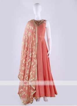 cotton silk anarkali suit in peach color