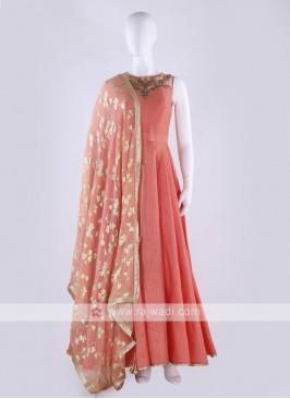 cotton silk anarkali suit in peach color