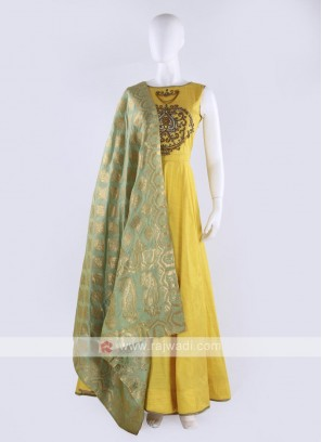 cotton silk anarkali suit in yellow