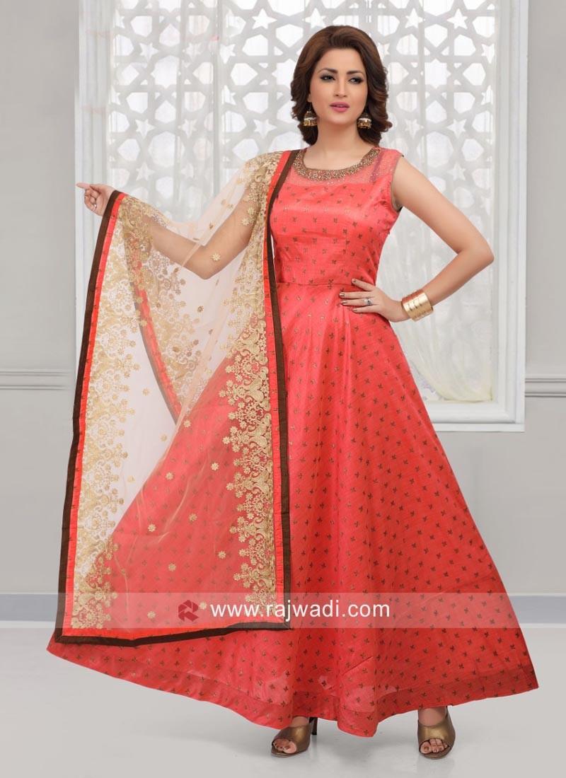 Cotton Silk Anarkali Suit with Dupatta