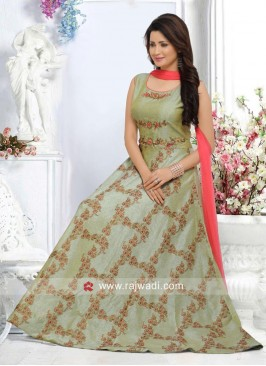 Cotton Silk Anarkali with Chiffon Dupatta