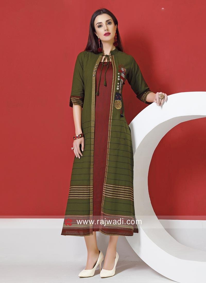 Cotton Silk and Crepe Silk Jacket Syle Kurti