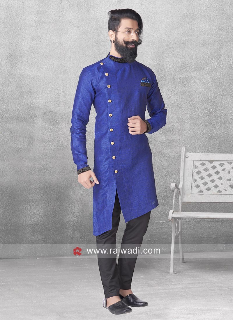 Linen Blue Color Pathani Suit