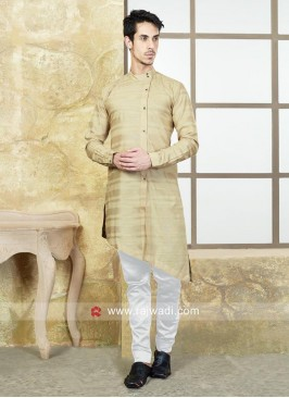 Cotton Silk Beige Color Pathani Suit